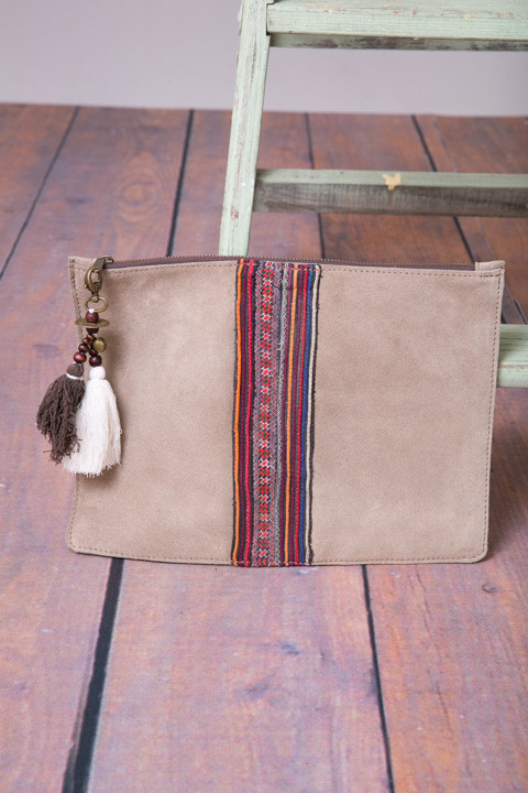 Fredd Basha Ashley Suede Zip Pouch Buff