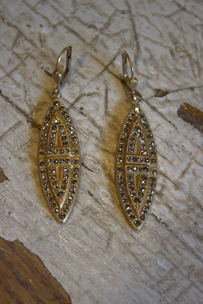 La Vie Parisienne Black Diamond Marquise Stone Earrings