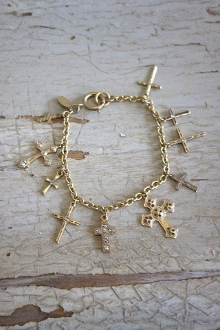 La Vie Parisienne Gold Multi-Cross Bracelet
