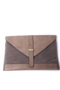Grey Flap Clutch
