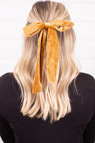Velvet Gold Bow Tie Scrunchie