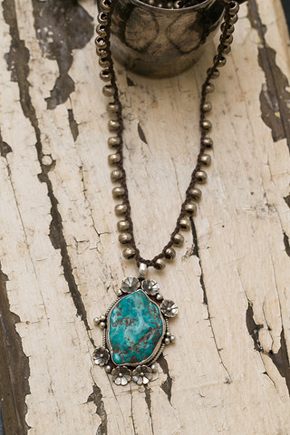 Turquoise With Flowers Necklace