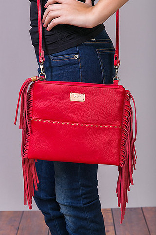 Fredd & Basha Oakley Cross Body Fringe Red