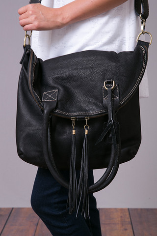 Fredd & Basha Punk Fringe Fold Over Bag Black