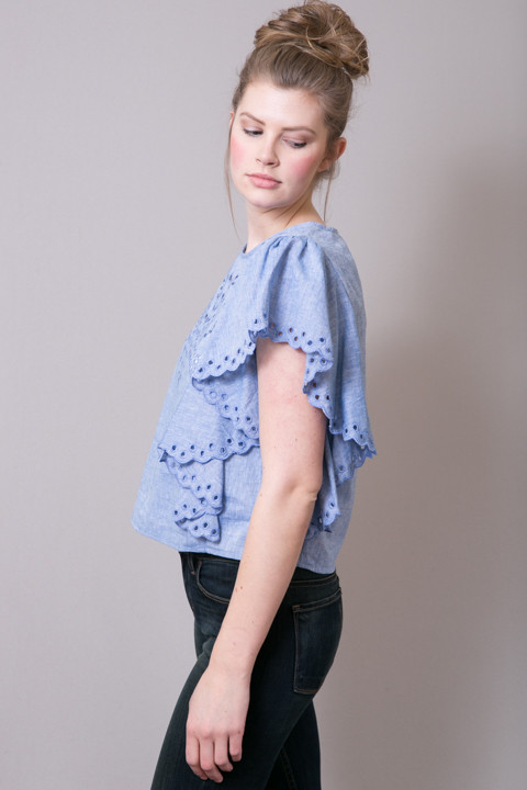 Ark Co Eyelet Denim Blouse