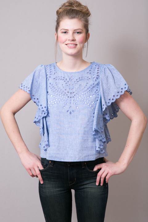 Ark & Co. Eyelet Denim Blouse 3