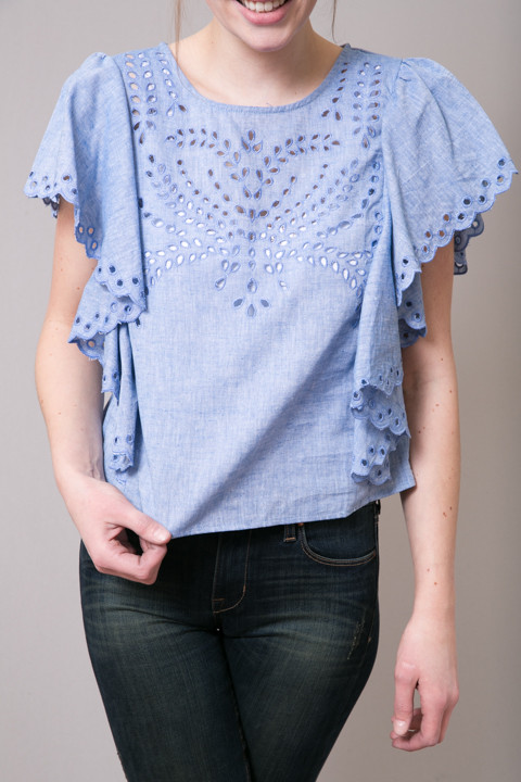 Ark & Co. Eyelet Denim Blouse 4