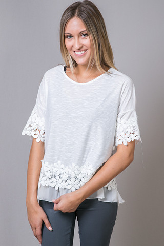 O2 Collection Cosmo Flower Top White