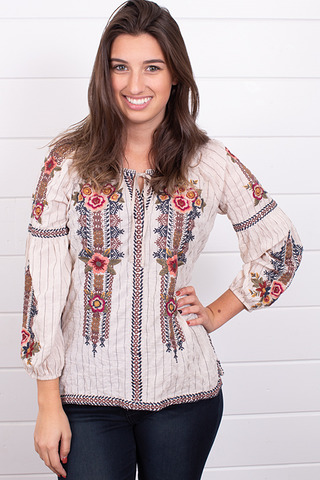 Johnny Was Collection Aaliah Peasant Blouse