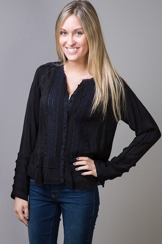 Johnny Was Collection Flutter Ruffle Blouse