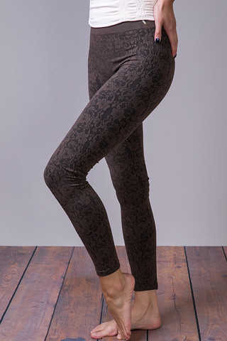 M. Rena Dark Brown Lace Jacquard Legging