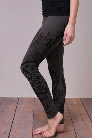 M. Rena Tummy Tuck High Waisted Legging Dark Grey Lace Print
