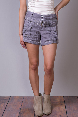 Pete & Greta Linen Cargo Shorts Fuscous Grey