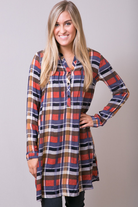 Mystree Rust Shirt Dress