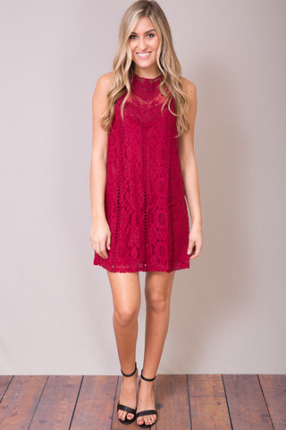 Lacey Wine Dress