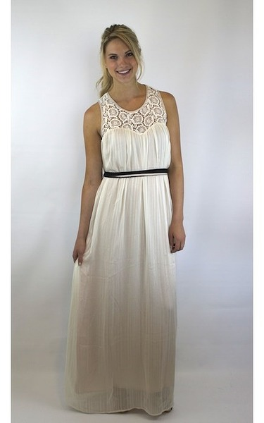 Flying Tomato Lace Maxi Dress with Button Open Back