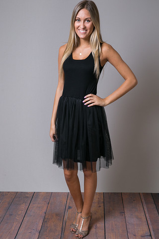 O2 Collection Black Tank Tulle Slip