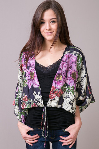 Johnny Was Collection Reversible Crop Jacket Cabbage Rose
