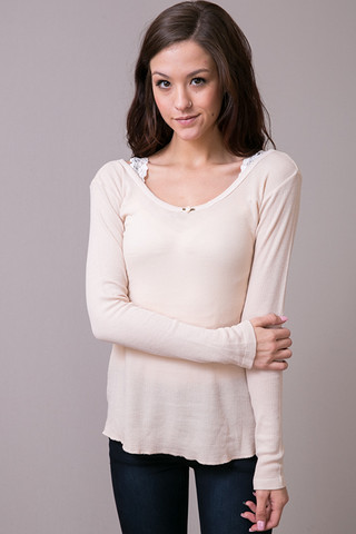 Cameo Thermal Scoop Tee Oatmeal