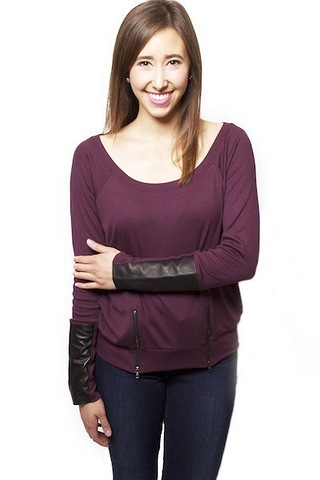 Heather by Bordeaux Leather Cuff Zip Top
