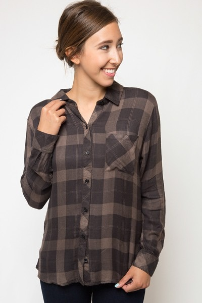 Rails Hunter Button Down Mocha