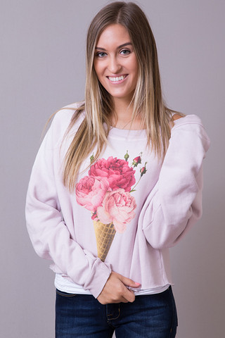 WILDFOX Couture Floral Cone Sweatshirt