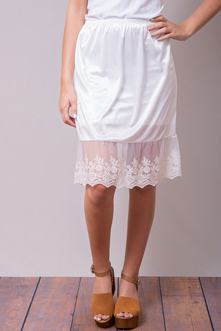 O2 Collection Ivory Lace Slip Skirt