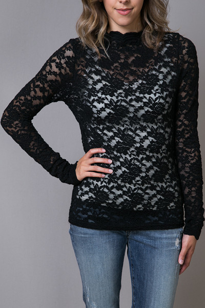 O2 Collection Black Lace Turtle Neck 2
