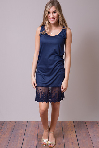 O2 Collection Navy Tank Scalloped Dress Slip