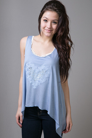 En Creme Powder Blue Heart Tank