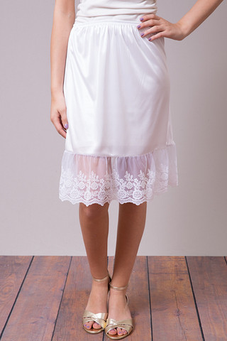 O2 Collection White Lace Slip Skirt
