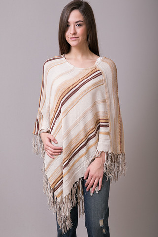 Elan International Rusty Fringe Poncho
