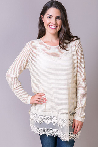 A Reve Long Sleeve Sheer Top With Crochet Mesh