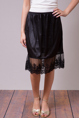 O2 Collection Black Lace Slip Skirt