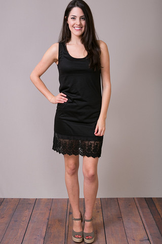 O2 Collection Black Tank Scalloped Dress Slip