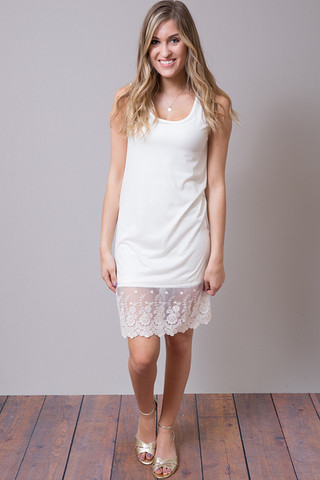 O2 Collection Ivory Tank Scalloped Dress Slip