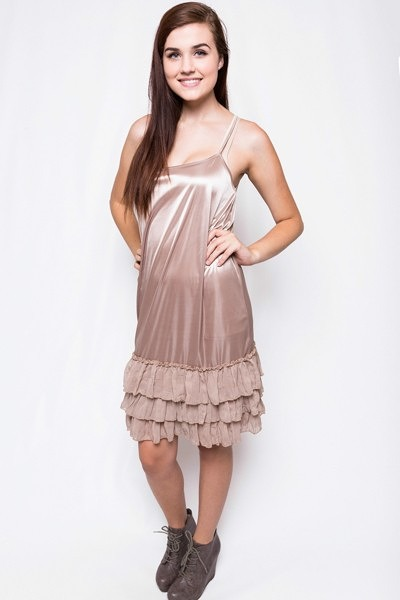 O2 Collection Mocha Tissue Ruffle Slip