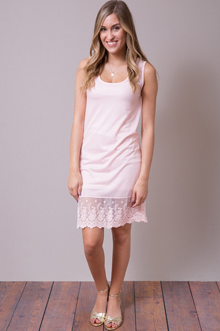 O2 Collection Pink Tank Scalloped Dress Slip