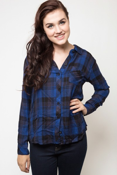 Rails Hunter Button Down Black and Cobalt