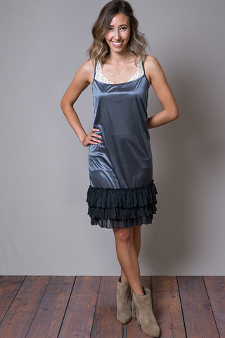 O2 Collection Charcoal Tissue Ruffle Slip