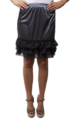 O2 Collection Grey Tissue Ruffle Slip Skirt
