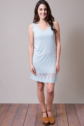 O2 Collection Baby Blue Tank Scalloped Dress Slip