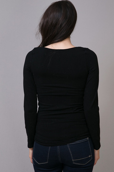 M. Rena Black Scoop Long Sleeve 4