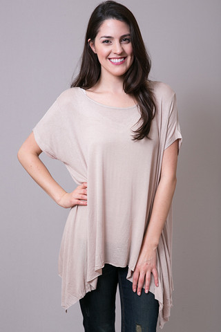 Mystree Taupe Knit Swing Tee
