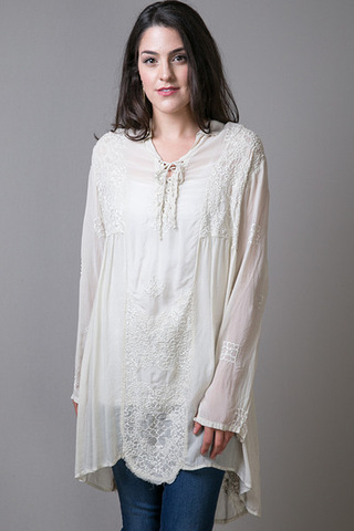 Johnny Was Collection Lace Up Long Tunic