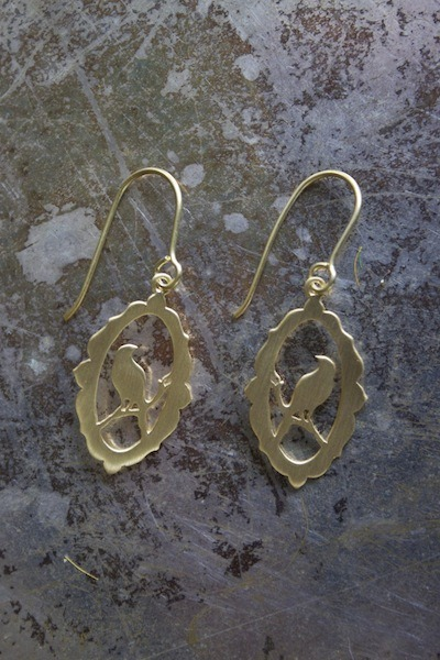Baroque Frame Bird Earrings