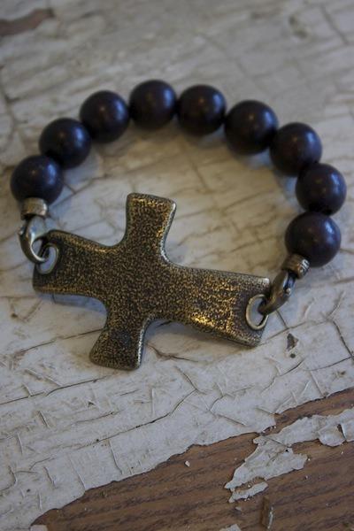 Beaded Wood Cross Bracelet