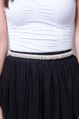 Winter Lennon Ivory Rhinestone Belt