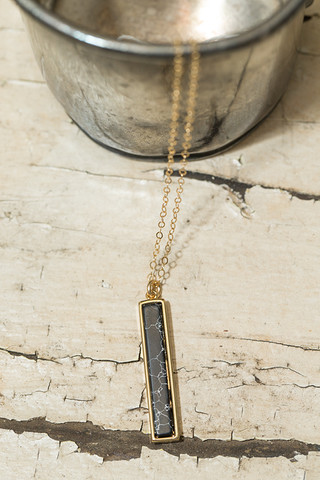 Love Poppy Jewels Black Marble Bar Necklace
