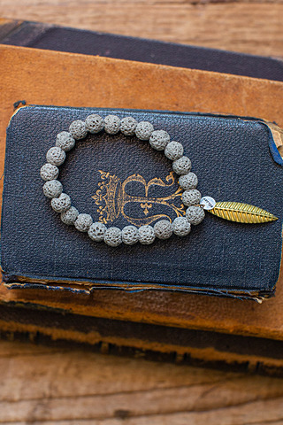 Black Lava Beaded Brac..